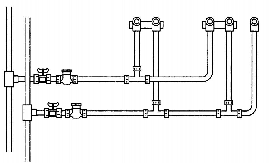 Классическая тройниковая разводка воды от стояков ХВС и ГВС